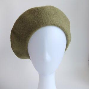 Accessories - Wool Winter Thick Felt French Beret- Moss Green